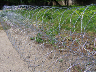 Pyramidal barriers of Egoza barbed wire