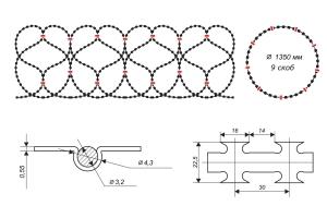 Чертеж спирального барьера Егоза-Аллигатор 1350/9