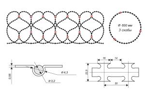 Чертеж спирального барьера Егоза-Аллигатор 600/3