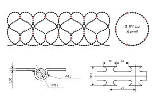 Чертеж спирального барьера Егоза-Аллигатор 800/5