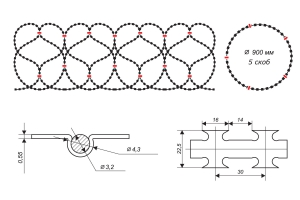Чертеж спирального барьера Егоза-Аллигатор 900/5