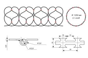 Чертеж спирального барьера Егоза-Кайман 1250/11