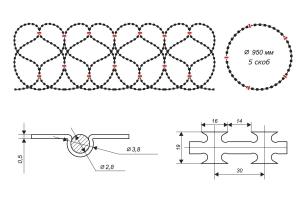 Чертеж спирального барьера Егоза-Кайман 950/5