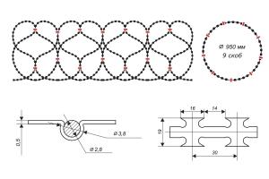 Чертеж спирального барьера Егоза-Кайман 950/9