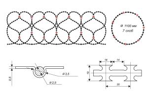Чертеж спирального барьера Егоза-Стандарт 1100/7