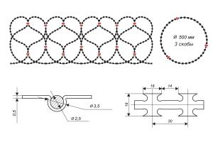 Чертеж спирального барьера Егоза-Стандарт 500/3