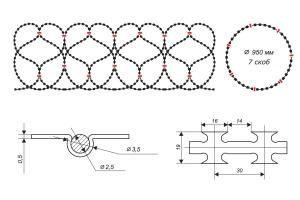 Чертеж спирального барьера Егоза-Стандарт 950/7