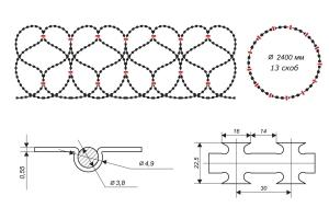 Чертеж спирального барьера Егоза-Супер 2400/13