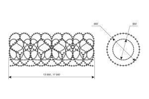 Чертеж двойного спирального барьера Кобра 800-500